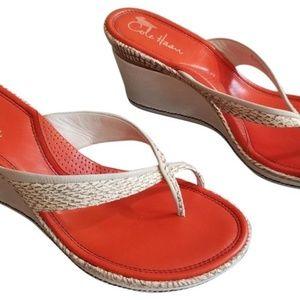 Cole Haan snake skin embossed wedge sandals NEW